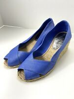 Lauren Ralph Lauren Size 7B Cecilia Wedge Espadrilles Canvas Blue Tan