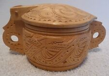 """Engraved Wooden Food Container by Matthias Andresson, Iceland 2000 (5"""" tall)"""