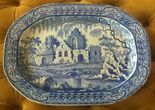 Rare Davenport Fisherman's Series/ Gothic Ruins Transferware Meat Platter C 1800
