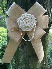 6pcs Rustic Burlap Pew Bows  Big Linen rose Decor Country Wedding  Aisle Decor