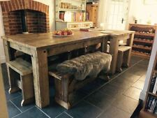 Dining/Kitchen/Table Handmade Rustic Wooden Farmhouse Reclaimed /Benches/Chairs