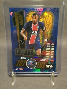 2020-21 Topps Match Attax UEFA Champions League Kylian Mbappe 100 Club # CL11