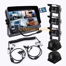"""4AV TRAILER CABLE 9"""" MONITOR WITH DVR 5 x REAR VIEW CAMERAS BACKUP SYSTEM"""