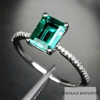 925 Sterling Silver Natural Colombian Emerald Octagon American Diamonds Ring
