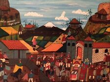 HUMBERTO CUYO UGSHA - ECUADORAN FOLK ART - VILLAGE BULLFIGHT PAINTING