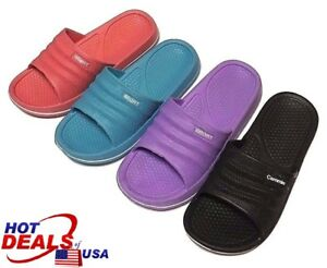 Women Slip On Sport Sandal Gym Pool Comfort House Shoes Flip Flop Shower Slipper