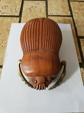 Vintage Brass And Wooden Carved Scarab Beetle Sculpture Art