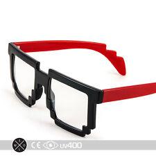 Red Trendy Dual Color Party Clear Lens 8-Bit Bitmap Glasses 8 Bit S068