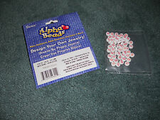 "DARICE ALPHABET BEADS   LETTER   ""D""   4X7MM  WHITE/PINK   30 BEADS  NEW"