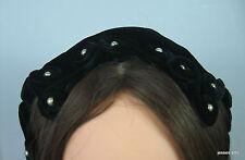 Vintage Women's Black Velvet Hat adorned with Pearls 1930's