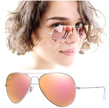 fa2d6b573e RAY-BAN AVIATOR PINK MIRROR LENS SILVER FRAME RB 3025 SIZE 58 SUNGLASSES