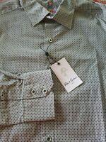 NWT $198.00 Robert Graham Mens Bexley Classic Long Sleeve Black White XL New