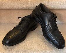 NETTLETON Vintage Men's Shoes Wingtip Black Leather Oxfords Steel toe Sz 8.5 C/E