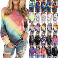 Women Tie Dye Long Sleeve Jumper Pullover Sweatshirts Casual T-Shirt Blouse Tops