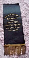 ANTIQUE  RIBBON KNIGHTS TEMPLAR MASONIC ORDER MINNESOTA  ST. LOUIS MO 1886