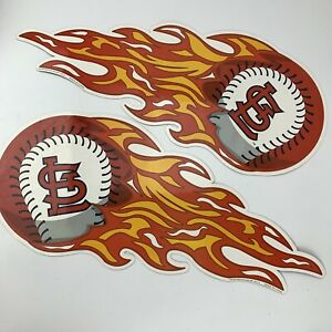 """St Louis Cardinals Flaming Baseball Magnets 24"""" For Car Decals"""