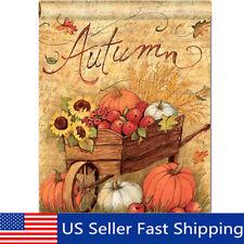 Autumn Pumpkin Cart Garden Flags Fall Sunflower Leaves Mini Banner Decor 12X18''