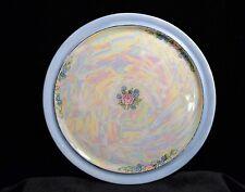 Vintage Blue Trim Lusterware Porcelain Plate w/ Pink Rose UNO Favorite Bavaria