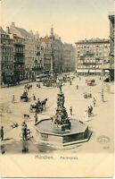 AK München, Marienplatz, Metzgerbrunnen, Pferdekutschen, ca 1910 , nicht gel.