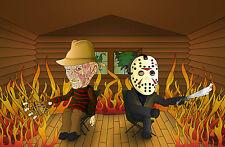 Cartel De A4-Jason & Freddy Krueger Tostado Malvaviscos (Imagen Arte Cartel)