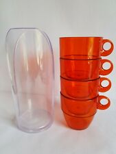4 orange Retro Vintage large mugs Stacking plastic picnic camper festival