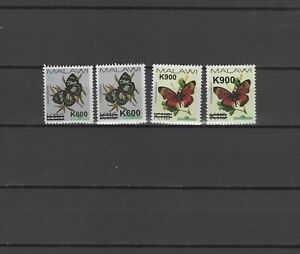 Malawi 2020 Butterflies set of 4 with with overprint of new value MNH