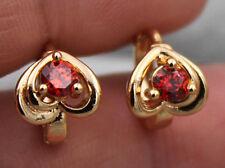 18K Yellow Gold Fille - Hollow Heart Ruby Topaz Zircon Hoop Gemstone Earrings