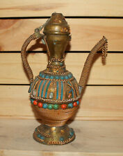 Antique Islamic hand made ornate brass pitcher teapot with spout