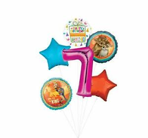 Lion King Party Supplies 7th Birthday Balloon Bouquet Decorations - Pink Numb...