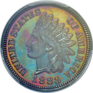 1883 INDIAN HEAD PCGS CERTIFIED PR66 BN TONED