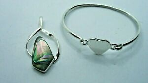 Lot  2 Genuine .925 Sterling Silver Items -Bracelet & Abalone Pendant 21.2g #27