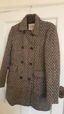 Pull and Bear Jacket Coat  Black & white  houndtoith size large/  14  wool blend