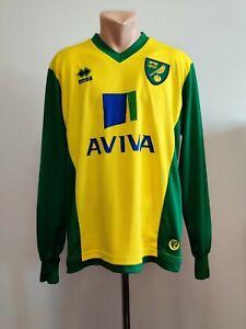 Football shirt soccer FC Norwich City Canaries Home 2013/2014 Errea Jersey Long