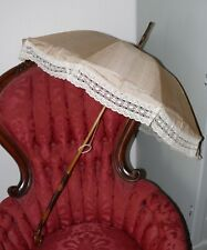 Made in Lyon France 1880`s Long victorian Raw Silk Parasol Lace Border