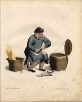 Schuhmacher-Schuster-Schuhe-China-Chinese Kupferstich Dadley 1800 Ethnologie