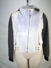 New Look Ivory Gray Long Sleeve Hoodie Faux Leather Jacket Juniors Size XL 15 17