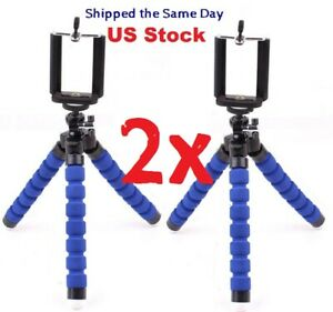 Flexible Octopus Tripod + Bracket for Cell Phone, Camera, iPhone - Blue 2x