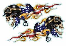 Aufkleber Set USA Rennen Totenkopf Race Skull Sticker Set Helm 9x4,5 cm Airbrush