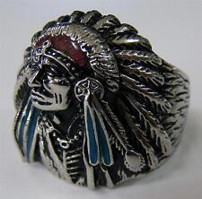 INDAIN WITH FEATHER BONNET STAINLESS BIKER RING #513-S Fashion mens womens NEW