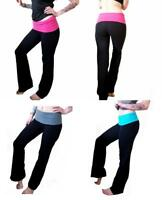 Yoga Pants Womens Athletic Foldover Stretch Gym Casual Comfy Lounge S-M-L-XL-2XL