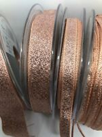 ROSE GOLD Berisfords Sparkly Lame Glitter Ribbon 3,7,15,25 &40mm INCL 1ST POST