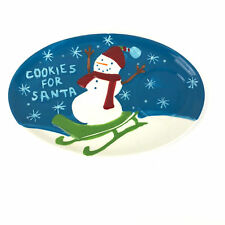 Cookies for Santa Holiday 2006 Starbucks Plate Dish 8 X 5.5 Snowman Sled Red Hat