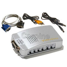 New PC to TV Converter Video S-Video Switch Box VGA to RCA MAC Adapters 1L7