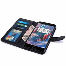 PU Leather Black Book Wallet Flip Stand Case Cover for OnePlus 3 With Card Slots