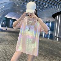 Women Sparkle Glitter T-shirt Club Top Bling Laser Harajuku Loose Casual Fashion