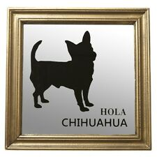 Antique Style Framed Chihuahua Mirror Frosted Glass Dog Lovers Gifts Shabby Chic