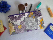 Purple Yellow Grey Floral - Handmade Fabric Cosmetic Bag / Pencil Case / Zip Bag