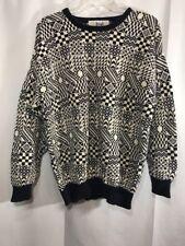 Pringle Scotland Mens L Large Navy Blue White Geometric Sweater 100% Cotton