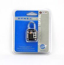 NEW Dynex DX-TLCK13 Travel Smart 3-Dial Combination Lock Black - Free Shipping