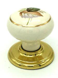 2 x AUTUMN LEAVES KNOBS 37mm cream ceramic porcelain cupboard door knob (647)